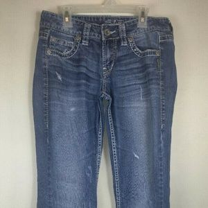 Silver Distressed Jeans Eden Flare Size 27/33
